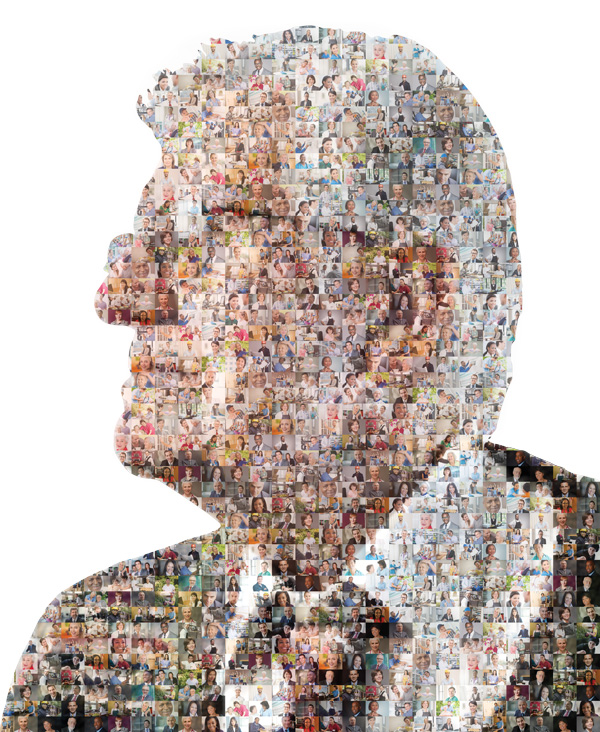Senior man mosaic representing workforce