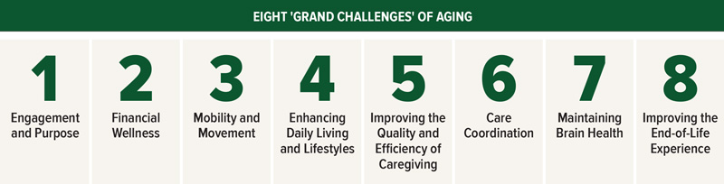 Eight grand challenges of aging