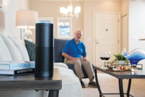 A SantaFe Senior Living model smart apartment includes an Alexa-powered assistant.