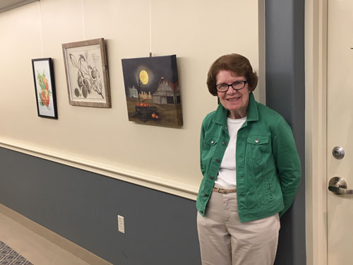 Pennswood Village resident resident Ann Balderston and her artwork.