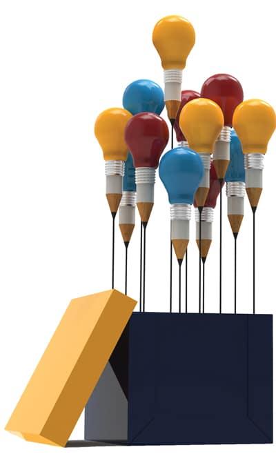 Image of multi-colored light bulbs