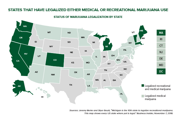 Map showing states that have legalized either medical or recreational marijuana use