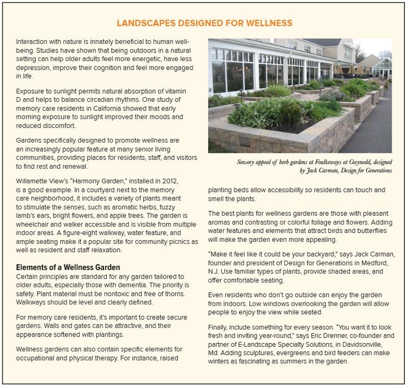 Sidebar: Landscape designed for wellness